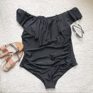 Black Ruched Ruffle One Piece Swimsuit